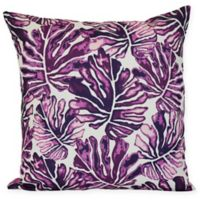 Tropical Palm Leaves Throw Pillow in Purple