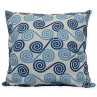 Coastal Rip Curl Square Throw Pillow in Blue