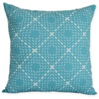 Dots And Dashes Square Throw Pillow in Aqua