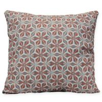 Water Mosaic Coastal Square Throw Pillow in Coral