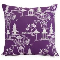 Chinapezka Floral Square Throw Pillow in Purple