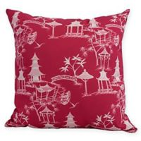 Chinapezka Floral Square Throw Pillow in Fuchsia