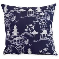 Chinapezka Floral Square Throw Pillow in Navy