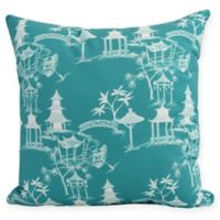Chinapezka Floral Square Throw Pillow in Blue