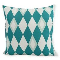 Harlequin Diamond Square Throw Pillow in Blue