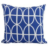 Ovals and Stripes Square Throw Pillow in Royal Blue