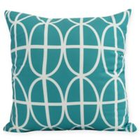 Ovals and Stripes Square Throw Pillow in Blue