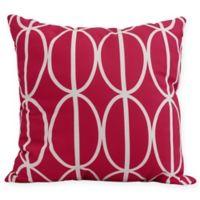 Ovals Go 'Round Square Throw Pillow in Fuchsia
