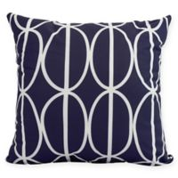 Ovals Go 'Round Square Throw Pillow in Navy Blue