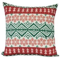 E by Design Fair Isle Square Throw Pillow in Red