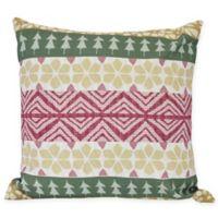E by Design Fair Isle Square Throw Pillow in Green