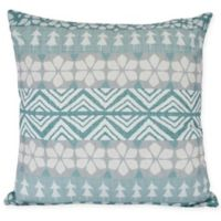 E by Design Fair Isle Square Throw Pillow in Teal