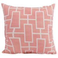E by Design Screen Lattice Square Throw Pillow in Coral