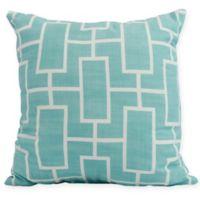 E by Design Screen Lattice Square Throw Pillow in Blue