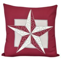 E by Design Night Star Square Throw Pillow in Red