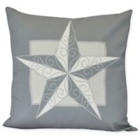 E by Design Night Star Square Throw Pillow in Grey