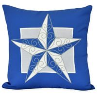 E by Design Night Star Square Throw Pillow in Royal Blue