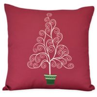 E by Design Filigree Tree Square Throw Pillow in Red