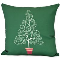 E by Design Filigree Tree Square Throw Pillow in Green