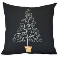 E by Design Filigree Tree Square Throw Pillow in Black