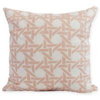 E by Design Rattan Geometric Square Pillow in Coral