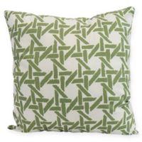 E by Design Rattan Geometric Square Pillow in Green