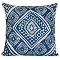 E by Design Diamond JIll Square Pillow in Navy Blue