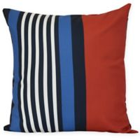 Beach Shack Stripe Square Throw Pillow in Red