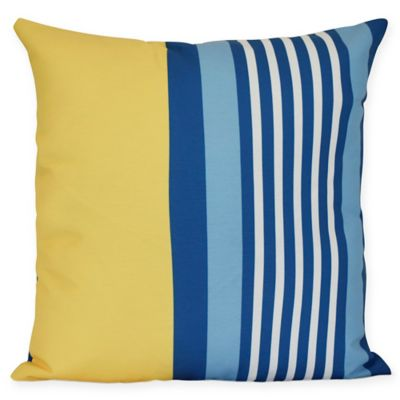 Delightful Beach Shack Stripe Square Throw Pillow In Yellow