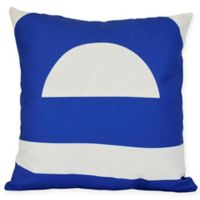 Lock Geometric Square Throw Pillow in Blue