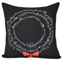 Wreath of Words Square Throw Pillow in Black