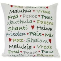 Words of Peace Square Throw Pillow in Green