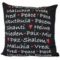 Words of Peace Square Throw Pillow in Black