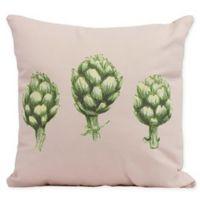 E By Design Artichoke Floral Square Pillow in Pale Pink