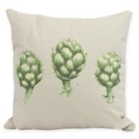 E By Design Artichoke Floral Square Pillow in Light Grey/Green