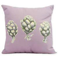 E By Design Artichoke Floral Square Pillow in Light Purple