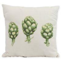 E By Design Artichoke Floral Square Pillow in Off White