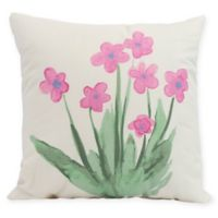 E by Design Pretty Little Flower Square Pillow in Pink