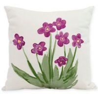E by Design Pretty Little Flower Square Pillow in Purple
