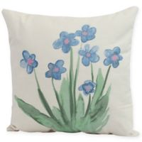 E by Design Pretty Little Flower Square Pillow in Light Blue