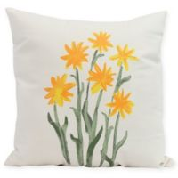 E by Design Daffodils Square Pillow in Yellow