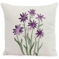 E by Design Daffodils Square Pillow in Purple