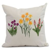 E by Design Flower Trio Square Pillow in Amber