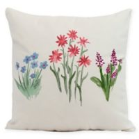E by Design Flower Trio Square Pillow in Light Blue