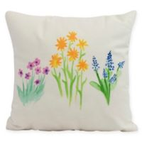 E by Design Flower Trio Square Pillow in Yellow