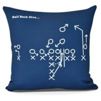E By Design Half Back Dive Square Pillow in Navy Blue