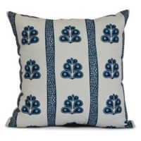 E by Design Wacky Stripe Square Pillow in Navy Blue
