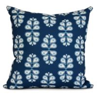 E by Design Wacky Paisley Square Pillow in Navy Blue