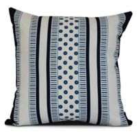 E by Design Comb Dot Striped Square Pillow in Navy Blue