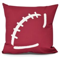 E by Design Football Square Pillow in Cranberry